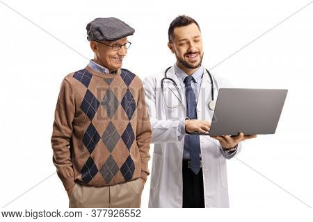 Doctor showing a laptop computer to an elderly male patient isolated on white background