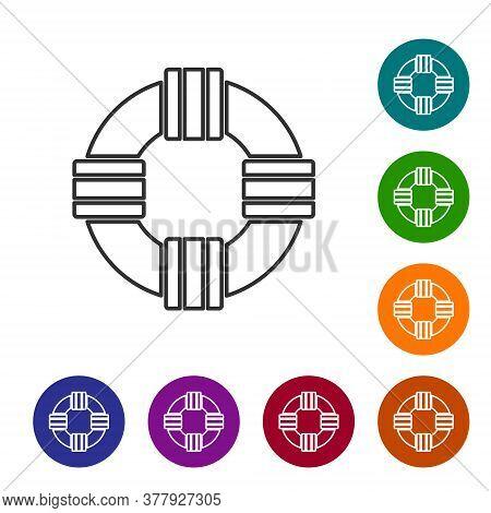Black Line Lifebuoy Icon Isolated On White Background. Lifebelt Symbol. Set Icons In Color Circle Bu
