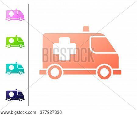 Coral Ambulance And Emergency Car Icon Isolated On White Background. Ambulance Vehicle Medical Evacu