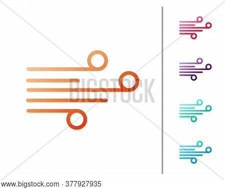Red Line Wind Icon Isolated On White Background. Windy Weather. Set Color Icons. Vector Illustration