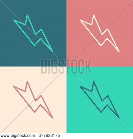 Pop Art Line Lightning Bolt Icon Isolated On Color Background. Flash Sign. Charge Flash Icon. Thunde