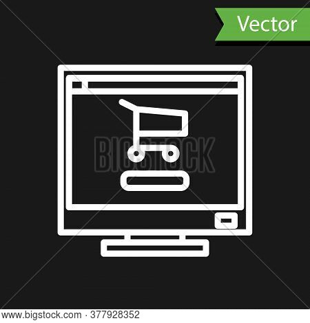 White Line Shopping Cart On Screen Computer Icon Isolated On Black Background. Concept E-commerce, E