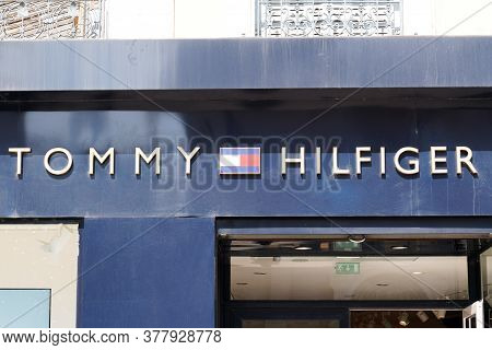 Bordeaux , Aquitaine / France - 07 22 2020 : Tommy Hilfiger Sign And Text Logo Store Of American Clo