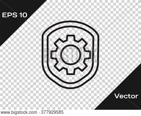Black Line Shield With Settings Gear Icon Isolated On Transparent Background. Adjusting, Service, Ma