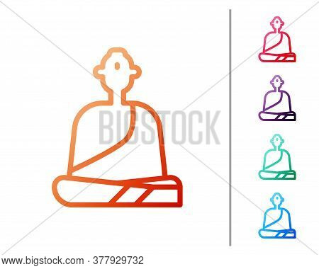 Red Line Buddhist Monk In Robes Sitting In Meditation Icon Isolated On White Background. Set Color I