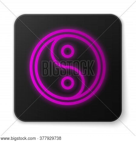 Glowing Neon Line Yin Yang Symbol Of Harmony And Balance Icon Isolated On White Background. Black Sq