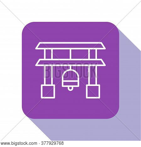 White Line Japan Gate Icon Isolated On White Background. Torii Gate Sign. Japanese Traditional Class