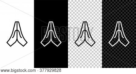 Set Line Hands In Praying Position Icon Isolated On Black And White Background. Prayer To God With F