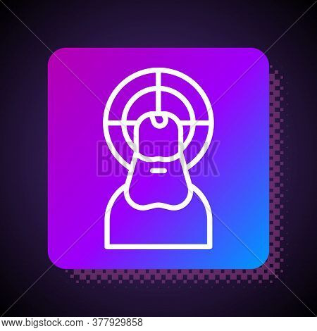 White Line Jesus Christ Icon Isolated On Black Background. Square Color Button. Vector Illustration