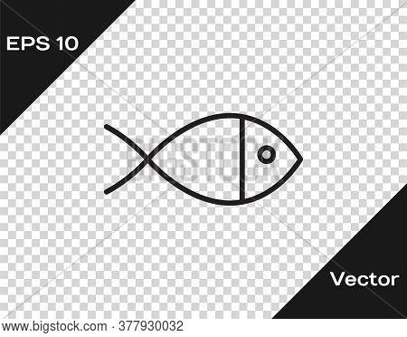 Black Line Christian Fish Symbol Icon Isolated On Transparent Background. Jesus Fish Symbol. Vector