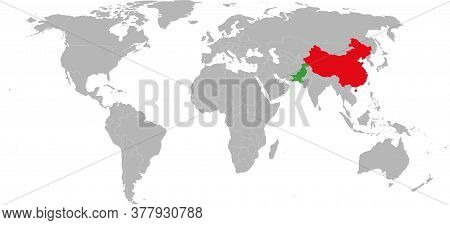 China, Pakistan Countries Isolated On World Map. Light Gray Background. Economic And Trade Relations