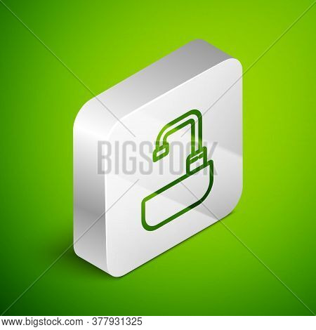 Isometric Line Washbasin With Water Tap Icon Isolated On Green Background. Silver Square Button. Vec