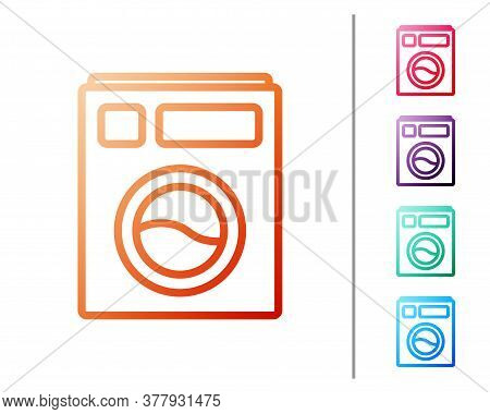 Red Line Washer Icon Isolated On White Background. Washing Machine Icon. Clothes Washer - Laundry Ma