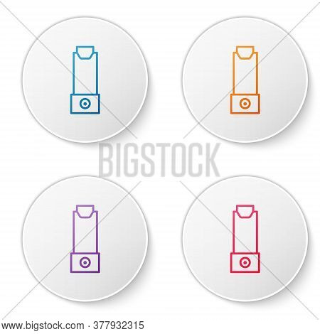 Color Line Inhaler Icon Isolated On White Background. Breather For Cough Relief, Inhalation, Allergi