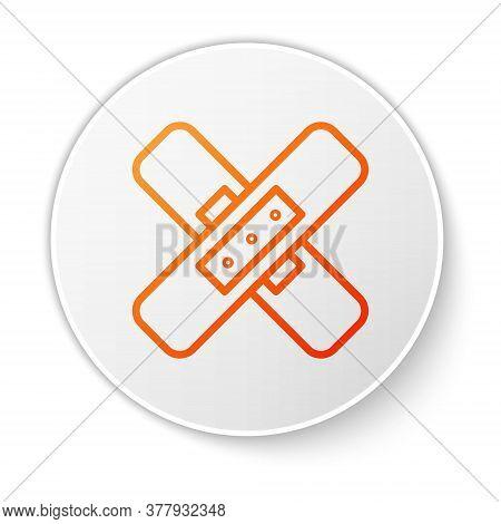 Orange Line Crossed Bandage Plaster Icon Isolated On White Background. Medical Plaster, Adhesive Ban