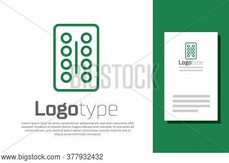 Green Line Pills In Blister Pack Icon Isolated On White Background. Medical Drug Package For Tablet,