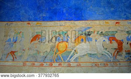 Carcassonne, Languedoc - Roussillon, France - September 13, 2013: Painting Dating Back To The 12th A