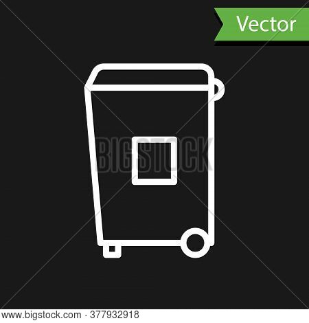 White Line Trash Can Icon Isolated On Black Background. Garbage Bin Sign. Recycle Basket Icon. Offic
