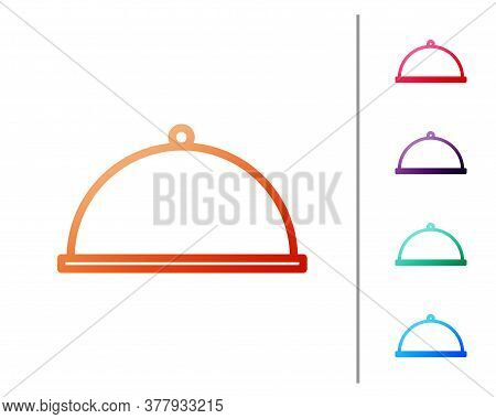 Red Line Covered With A Tray Of Food Icon Isolated On White Background. Tray And Lid. Restaurant Clo