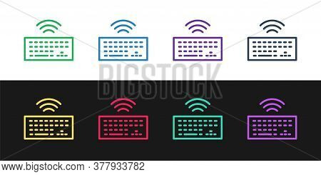 Set Line Wireless Computer Keyboard Icon Isolated On Black And White Background. Pc Component Sign.