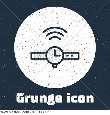 Grunge Line Smartwatch Icon Isolated On Grey Background. Internet Of Things Concept With Wireless Co