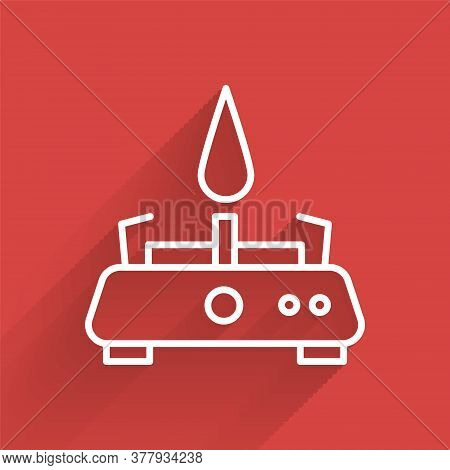 White Line Camping Gas Stove Icon Isolated With Long Shadow. Portable Gas Burner. Hiking, Camping Eq