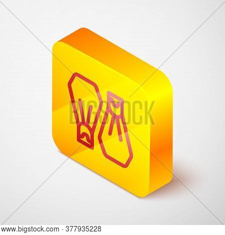 Isometric Line Rubber Flippers For Swimming Icon Isolated On Grey Background. Diving Equipment. Extr