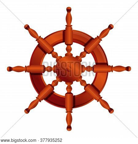 Steering Ship Wheel Icon. Cartoon Of Steering Ship Wheel Vector Icon For Web Design Isolated On Whit