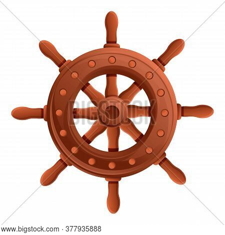 Adventure Ship Wheel Icon. Cartoon Of Adventure Ship Wheel Vector Icon For Web Design Isolated On Wh