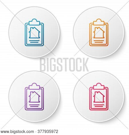 Color Line House Contract Icon Isolated On White Background. Contract Creation Service, Document For