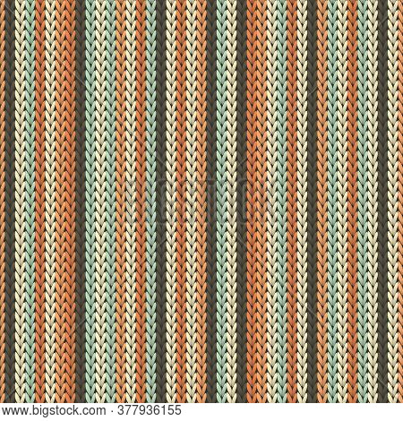 Yarn Vertical Stripes Knit Texture Geometric Vector Seamless. Jumper Knit Effect Ornament. Winter Se