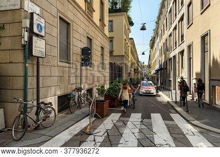 Milan, Italy - April 17, 2018. View Of The Via Gesu Street In The Historical Town Centre. Pedestrian