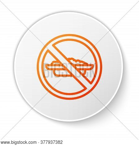 Orange Line Food No Diet Icon Isolated On White Background. Healing Hunger. White Circle Button. Vec