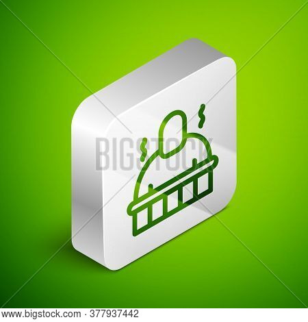 Isometric Line Sauna And Spa Procedures Icon Isolated On Green Background. Relaxation Body Care And