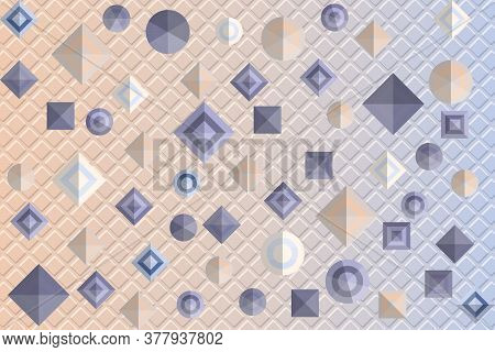 Pattern With Geometric Figures On Embossed Background. Vector Illustration Eps10