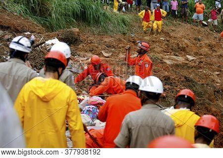 Salvador, Bahia / Brazil - April 28, 2015: Members Of The Fire Department Of Bahia Are Seen Working
