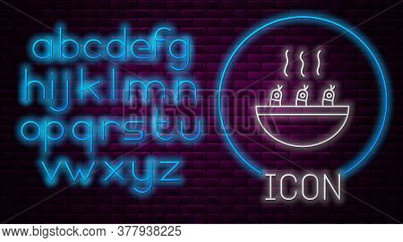 Glowing Neon Line Soup With Shrimps Icon Isolated On Brick Wall Background. Tom Yum Kung Soup. Neon