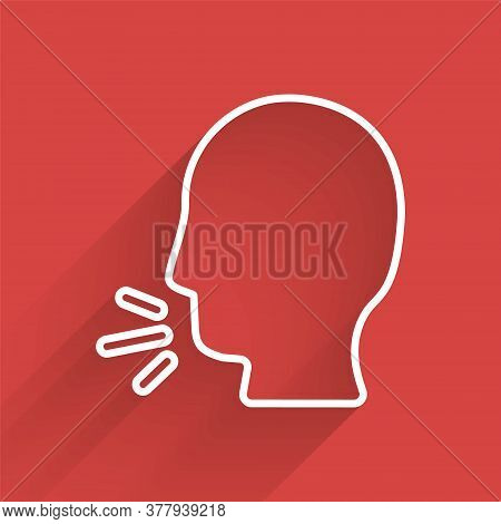 White Line Man Coughing Icon Isolated With Long Shadow. Viral Infection, Influenza, Flu, Cold Sympto