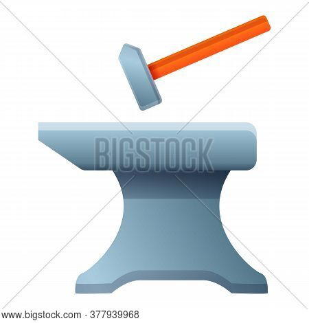 Hammer Anvil Icon. Cartoon Of Hammer Anvil Vector Icon For Web Design Isolated On White Background