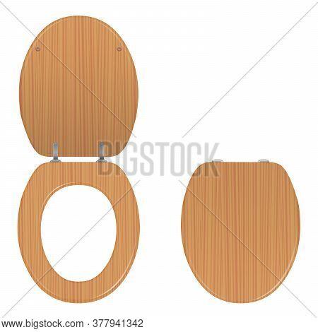 Toilet Seat. Wooden Lid Lifted Up And Down, Open And Closed. Isolated Vector Illustration On White B
