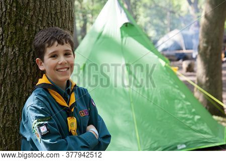 A Portrait Of A Boy During A Scout Camping Trip In Oxfordshire, Uk, Taken 11th May 2019