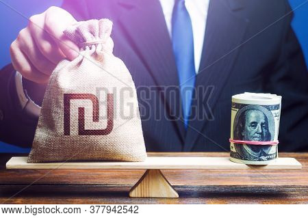 A Man Puts Israeli Shekel Money Bag On The Scales Opposite To The Dollar. Investments In Foreign Cur