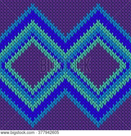 Cashmere Rhombus Argyle Knitting Texture Geometric Seamless Pattern. Jumper Knitwear Fabric Print. C