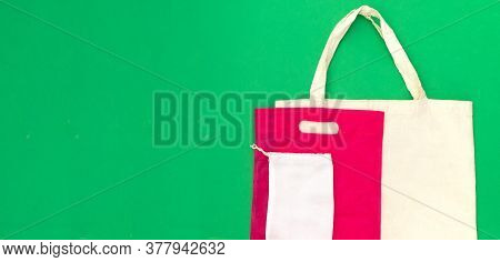 Fabric Cotton Reusable Shopping Bags. Zero Waste Product Packaging. Refusal Of Plastic Packaging, En