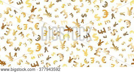 Seamless Pattern Euro, Dollar, Pound, Yen Gold Symbols Flying Currency. Trendy Investment Pattern. C