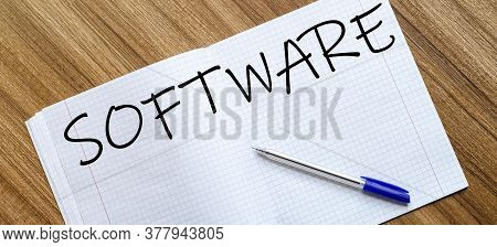 Blank Notebook And Pen. Isolated On White. Whith Text Software