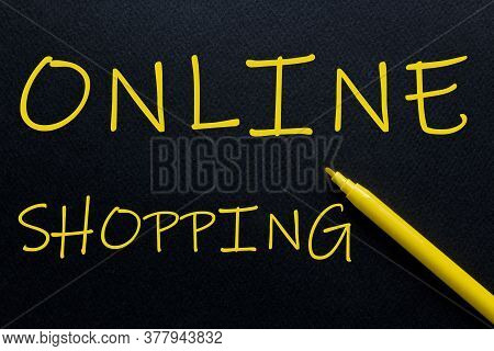 Online Shopping Yellow Pen With Yellow Text Own Rent At The Black Background