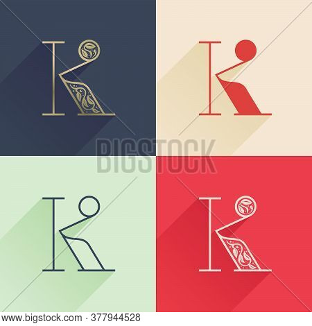 Classic K Letter Logo With Premium Decoration. Four Style Serif Font Set. Vector Icon Perfect To Use