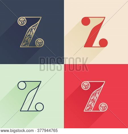 Classic Z Letter Logo With Premium Decoration. Four Style Serif Font Set. Vector Icon Perfect To Use