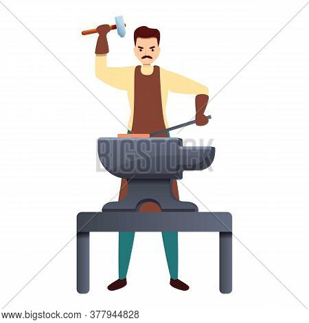 Blacksmith Working Hard Icon. Cartoon Of Blacksmith Working Hard Vector Icon For Web Design Isolated
